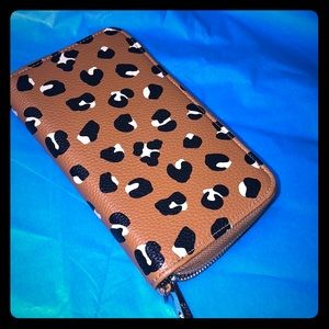 Leopard print faux leather wallet animal print NEW